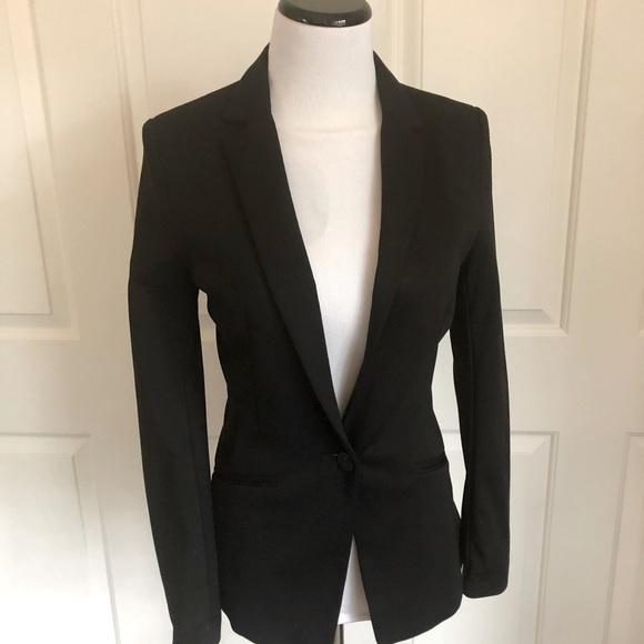 H & M black Fitted Blazer Size 6 Ponte Stretch EUC